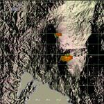 Thermische Signaturen am Nyiamuragira und am Nyiragongo. Signal der Wochenzusammenfassung. © MODIS