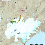 Zahlreiche Beben entlang des magmatischen Ganges. © IMO