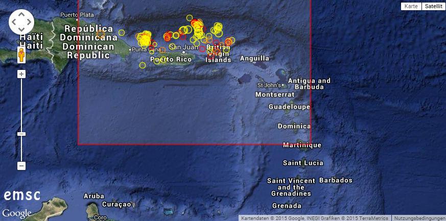 Schwarmbeben im Norden der großen Karibik-Inseln. © ESMC