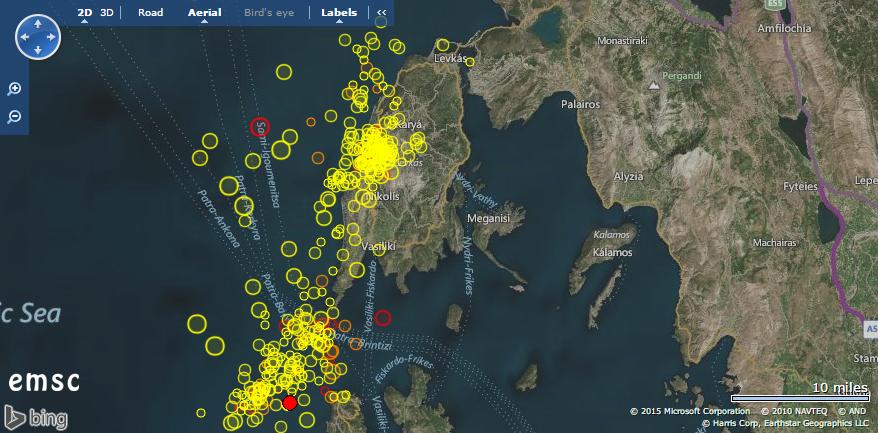 Erdbeben entlang der griechischen Küste. © EMSC