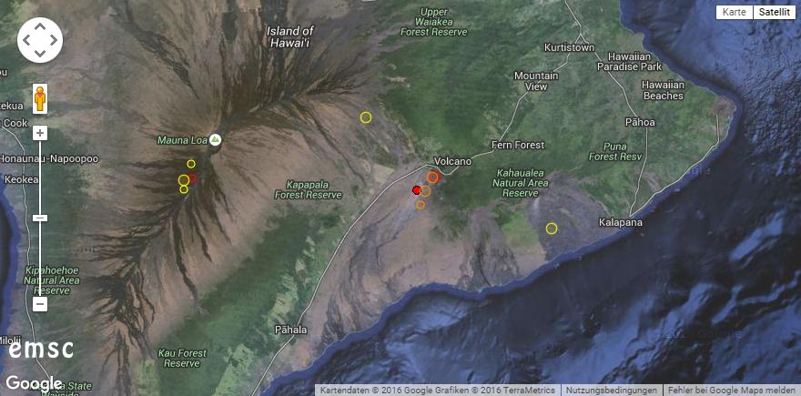Es bebt an den beiden Vulkanen Hawaii. © EMSC