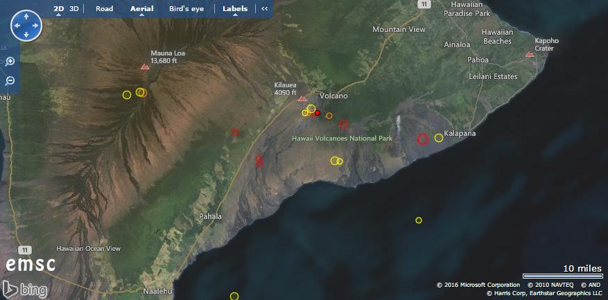 Steigende Seismik am Kilauea. &copy, EMSC
