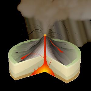Schematische Darstellung eines Stratovulkans mit einer vulkanianischen Eruption. © fotolia