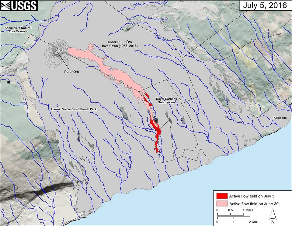 Die Karte des Lavastroms 61g. © HVO