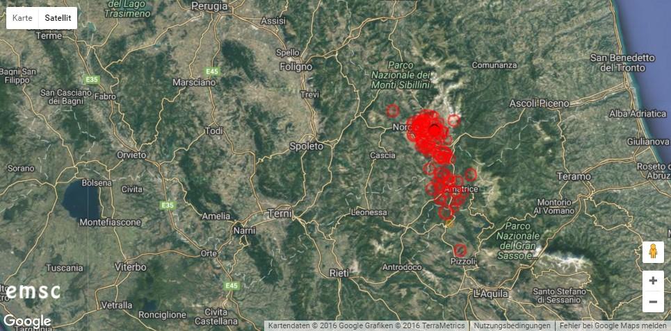 Erdbeben in Italien. © EMSC