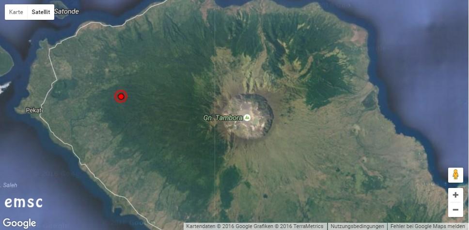 Erdbeben am Tambora. © EMSC