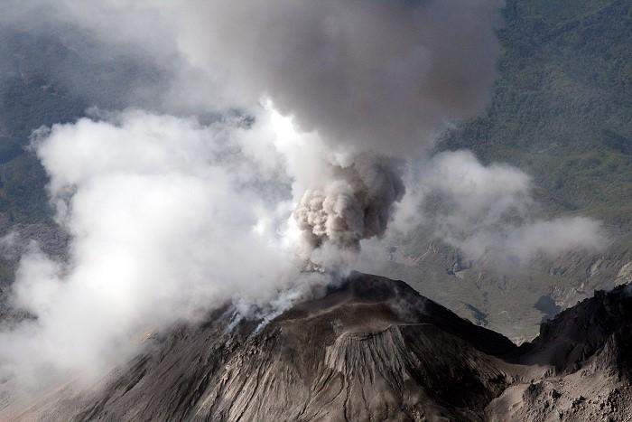 Ash eruption at Santiaguito